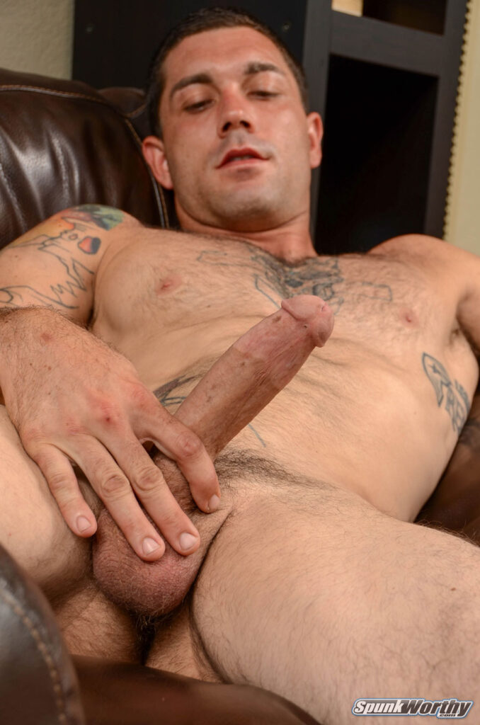 Hung construction worker Chris busts a nut 14
