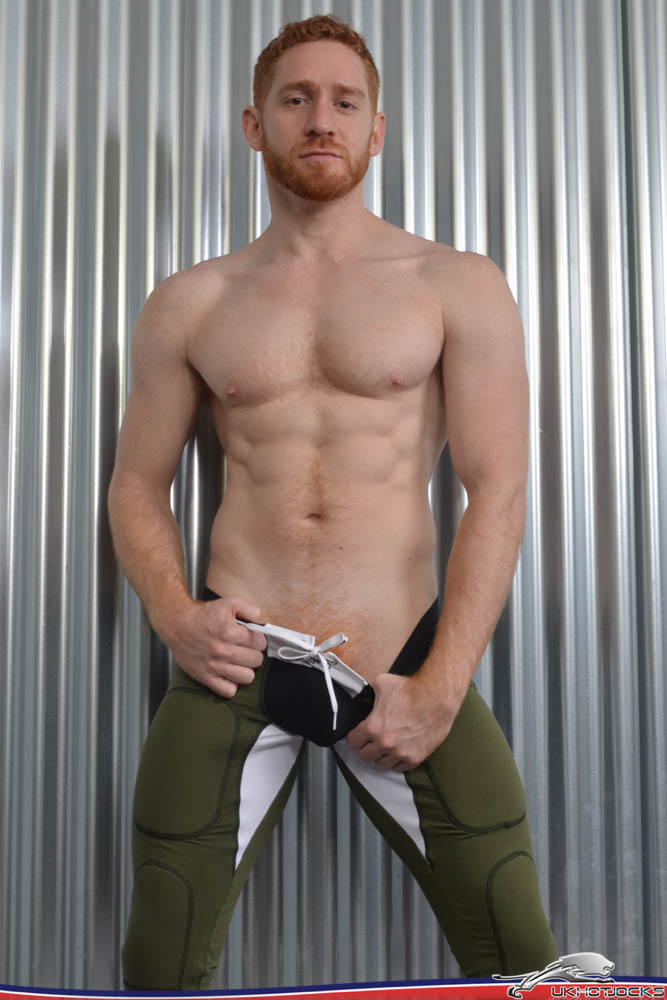 sexy ginger leander jerks of hairy guys in gay porn